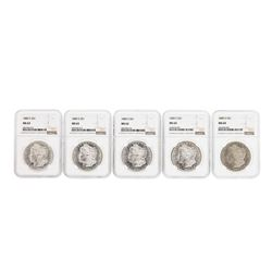 Lot of (5) 1880-S $1 Morgan Silver Dollar Coins NGC MS63 & MS64