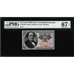 1874 25 Cents Fifth Issue Fractional Currency Note Fr.1309 PMG Superb Gem Unc 67EPQ
