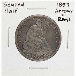 1853 Arrows & Rays Seated Liberty Half Dollar Coin