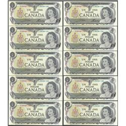 Lot of (10) Consecutive 1973 $1 Bank of Canada Notes - Uncirculated