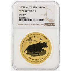 2009-P Australia $100 Year of the Ox Gold Coin NGC MS69