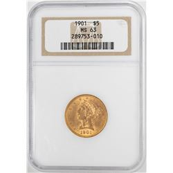 1901 $5 Liberty Head Half Eagle Gold Coin NGC MS63