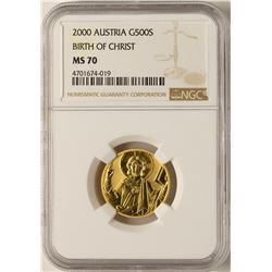 2000 Austria 500 Shillings Birth of Christ Gold Coin NGC MS70