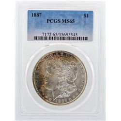 1887 $1 Morgan Silver Dollar Coin PCGS MS65 Nice Color