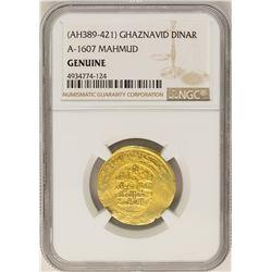 AH389-421 Ghaznavid Dinar A-1607 Mahmud Gold Coin NGC Genuine