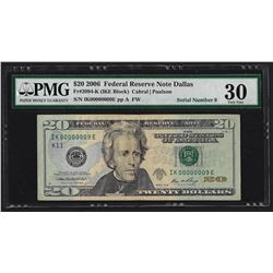 Serial Number 9 - 2006 $20 Federal Reserve Note Dallas Fr.2094-K PMG Very Fine 30