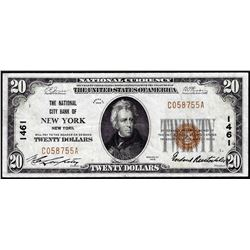 1929 $20 National City Bank New York, NY CH# 1461 National Currency Note