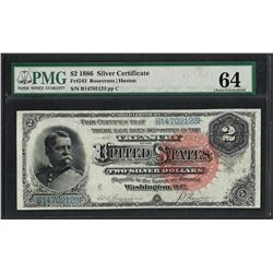 1886 $2 Silver Certificate Note Fr.243 PMG Choice Uncirculated 64