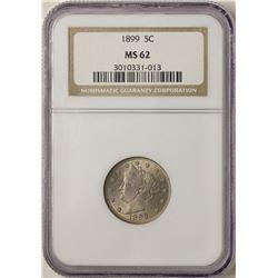 1899 Liberty V Nickel Coin NGC MS62