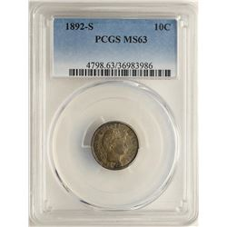 1892-S Barber Dime Coin PCGS MS63