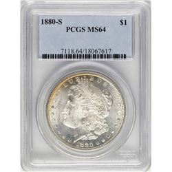 1880-S $1 Morgan Silver Dollar Coin PCGS MS64 Amazing Toning