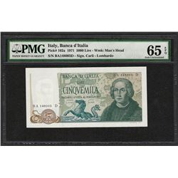 1971 Banca d'Italia Italy 5000 Lire Note Pick# 102a PMG Gem Uncirculated 65EPQ