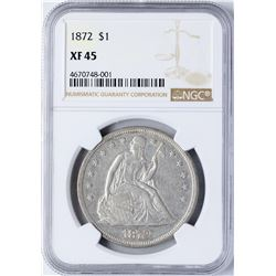 1872 $1 Seated Liberty Silver Dollar Coin NGC XF45
