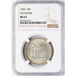 1936 Delaware Tercentenary Commemorative Half Dollar Coin NGC MS67