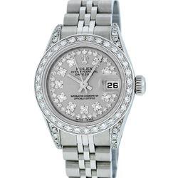 Rolex Ladies Stainless Steel Quickset Slate Grey Diamond Lugs Datejust Wristwatch