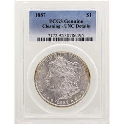 1887 $1 Morgan Silver Dollar Coin PCGS Unc Details