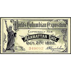 1893 World's Columbian Exposition Ticket Manhattan Day