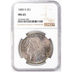 1880-S $1 Morgan Silver Dollar NGC MS65 Nice Toning