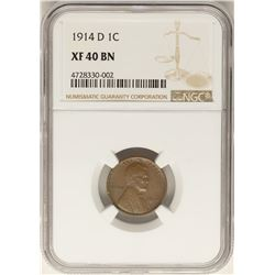 1914-D Lincoln Wheat Cent Coin NGC XF40 BN