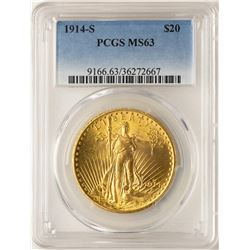 1914-S $20 St. Gaudens Double Eagle Gold Coin PCGS MS63