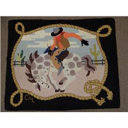 Hooked rug w/bucking horse and rider