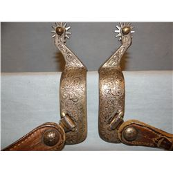 Fleming engraved stainless spurs
