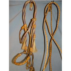 Hitched horsehair round braid bridle