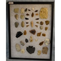"""Tray of 40 artifacts, 10 knives, 8 scrapers, 19 arrowheads, 1 big spear, 2 drills, 16""""x 12"""""""