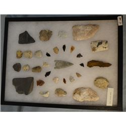 """Tray of 31 artifacts, 7 knives, 1 drill, 8 scrapers, 15 arrowheads, 16""""x 12"""",   Shaw Butte Trap, For"""