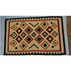 "Navajo Eye Dazzler weaving, 44"" x 69"", Chinle Trading Post (Predates Chinle Revival). Egetal Dye-Ora"
