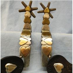 Heart spurs, unknown maker, 20 hearts on each spur, mountings are gold, bronze and nickel silver. Ra