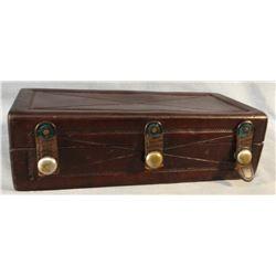 """F. A. Meanea, Cheyenne, WY, leather shaving box, 9"""" x 3"""""""