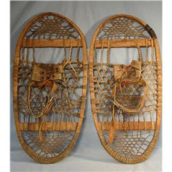 "Old rawhide snow shoes, 28""x 14"""