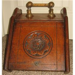 Vintage quarter-sawn oak ash bucket w/insert, brass handles