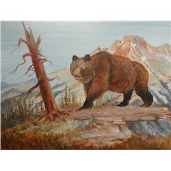 "Cheek, C. R. oil on canvas, Montana Grizzly, 8"" x 10"""