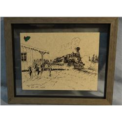 "Cheek, C. R. Christmas card pen/ink prints, signed, 8"" x 6"", Train Arriving At Station, 10/175, Dec."