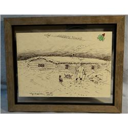 "Cheek, C. R. Christmas card pen/ink, signed, 8"" x 6"", Sod Cabin, Dec. 03, 26/175"