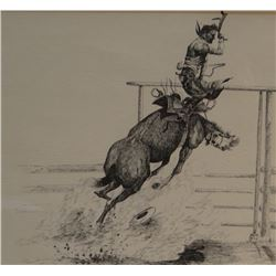 "Cuts The Rope, Clarence, original pen/ink, Saddle Bronc Champion, 1972, 12"" x 18"""