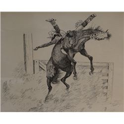 "Cuts The Rope, Clarence, original pen/ink, Bareback Bronc Champion, 1972, 12"" x 18"""