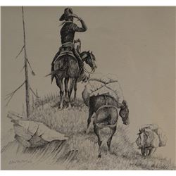 "Cuts The Rope, Clarence, origina pen/ink, Look Out Point, 1972, 12"" x 18"""