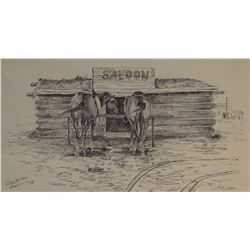 "Cuts The Rope, Clarence, origina pen/ink, Log Cabin Saloon, Poplar, MT, 1972, 12"" x 18"""