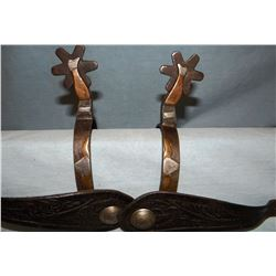 Lady leg blacksmith-made spurs w/steer heads on bands, from ranch on Upper Rosebud Creek, Montana