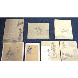 Will James memorabilia including 8 unsigned pen/ink drawings and sketches