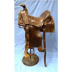 E. J. Owenhouse Montana Territory saddle, Sam Stagg rigged, Cheyenne roll seat, half seat style, all