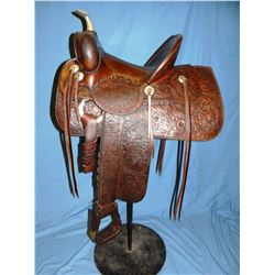 Al Furstnow full carved saddle, square skirts, Catalog #115, very high condition