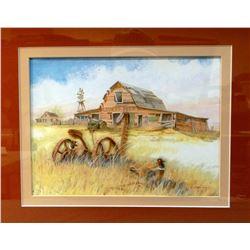 "Michael, Judy, (Malta, MT) original acrylic, Livery & Feed Barn, 3D, 8"" x 10"""