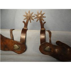 Crockett spurs with heart buttons, 9 point rowels