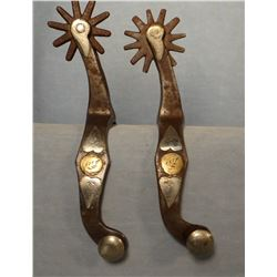 McChesney double silver mounted spurs, 12 point rowels
