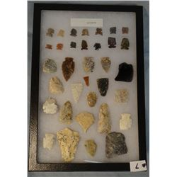 """Tray of 34 artifacts, 24 arrowheads, 3 knives, 2 drills, 5 scrapers, 12""""x 8"""", McBride Trap, Simms, M"""