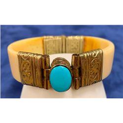Turquoise and ivory bracelet